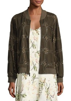 Haute Hippie Believe Embellished Bomber Jacket