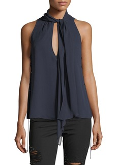 Haute Hippie Bouvier Tie-Neck Lace-Sides Silk Halter Top