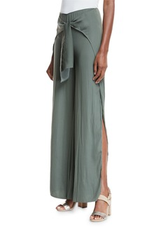 Haute Hippie Buck Tie-Front Wide-Leg Pants