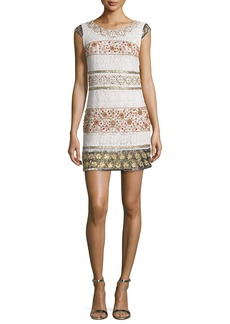 Haute Hippie Cap-Sleeve Beaded Lace Mini Dress