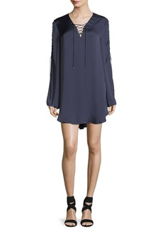 Haute Hippie Caravan Lace-Up Long-Sleeve Satin Shift Dress