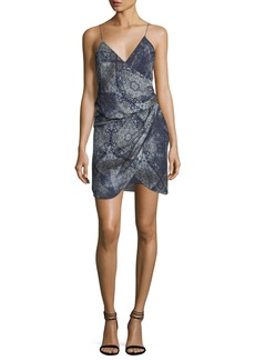Haute Hippie Cassie V-Neck Sleeveless Draped Silk Printed Dress