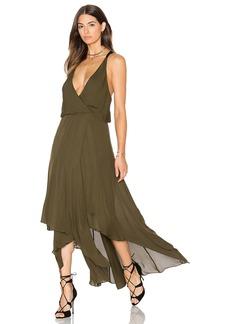 Haute Hippie Chiffon Godets Leather Wrap Dress