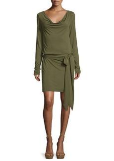 Haute Hippie Cowl-Neck Open-Back Jersey Mini Dress