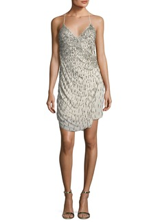 Haute Hippie Criminal Love Beaded Wrap Cocktail Dress