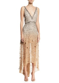 Haute Hippie Criminal Love Embellished V-Neck Gown