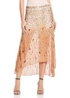Haute Hippie Criminal Love Metallic Bead & Feather Slayer Skirt