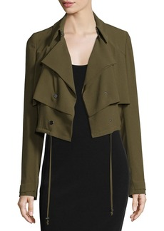 Haute Hippie Cropped Drawstring Trench Jacket