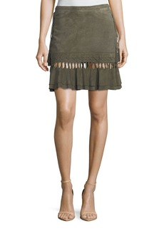 Haute Hippie Crossfire A-Line Suede Mini Skirt