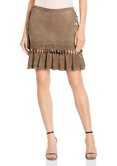 Haute Hippie Crossfire Lace-Up Suede Mini Skirt