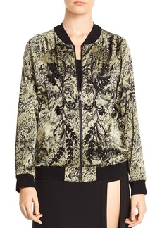 Haute Hippie Crystal Ball Beaded Printed Bomber Jacket