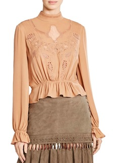 Haute Hippie Della Rose Embroidered Eyelet Blouse