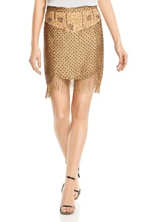 Haute Hippie Devere Crosshatch Beaded Mini Skirt