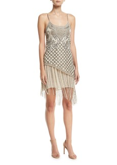 Haute Hippie Devere Sleeveless Fringe Mini Cocktail Dress