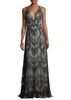 Haute Hippie Doreen Hook-&-Eye Lace Evening Gown