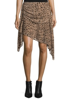 Haute Hippie Edith Leopard-Devore Draped Skirt
