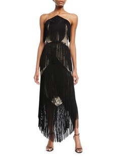 Haute Hippie Elixer of Life Fringe Open-Back Cocktail Dress