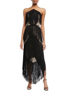 Haute Hippie Elixer of Life Fringe Open-Back Cocktail Dress