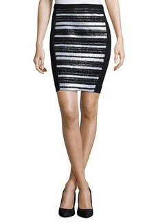 Haute Hippie Embellished-Front Pencil Skirt