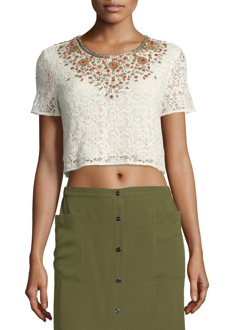 Haute Hippie Embellished Lace Crop Top