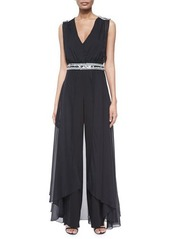 Haute Hippie Embellished Silk Jumpsuit with Cape