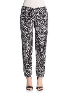 Haute Hippie Embellished Zebra-Print Silk Track Pants