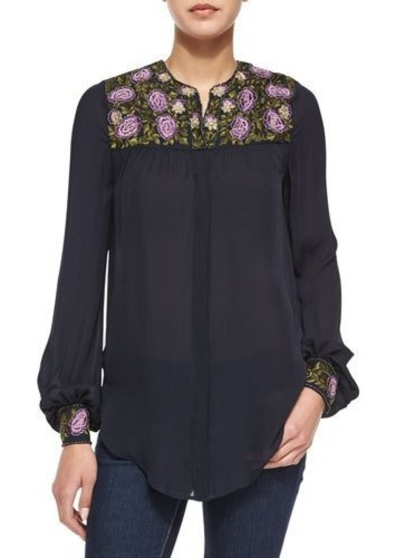 Haute Hippie Embroidered Georgette Blouse