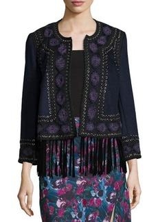Haute Hippie Embroidered Suede-Trim Wool Coat
