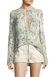 Haute Hippie Escape Long-Sleeve Silk Crochet Blouse