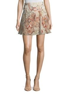 Haute Hippie Faye Damask-Print Silk Mini Skirt