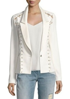 Haute Hippie Fitted Lace-Up One-Button Blazer