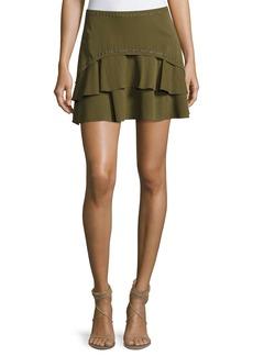 Haute Hippie Flirty Tiered Grommet Silk Skirt