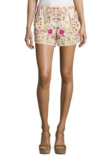 Haute Hippie Floral-Embroidered Shorts