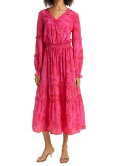 Haute Hippie Floral Long Sleeve Ruffle Silk Maxi Dress