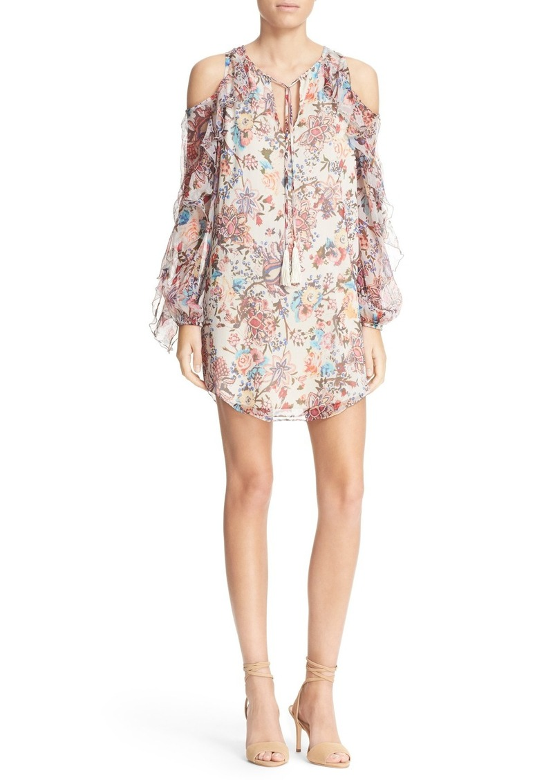 Haute Hippie Floral Print Cold Shoulder Silk Minidress