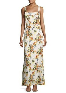 Haute Hippie Floral-Print Overall Silk Gown