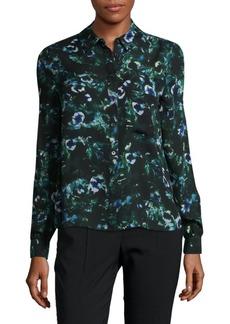 Haute Hippie Floral-Print Raw-Silk Shirt