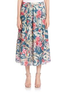 Haute Hippie Floral-Print Silk Midi Skirt