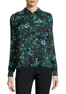Haute Hippie Floral Silk Button-Down Shirt