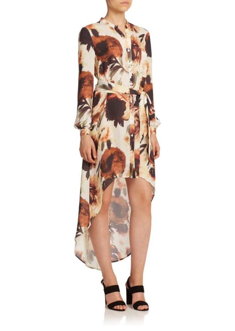 Haute Hippie Floral Silk Hi-Lo Shirtdress