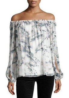 Haute Hippie Flowers in the Sun Off-the-Shoulder Printed Silk Blouse