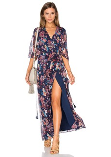 Haute Hippie Flutter Sleeve Maxi Dress