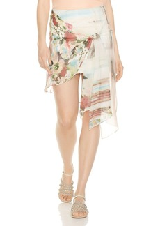 Haute Hippie French Riviera Wrap Overlay Silk Mini Skirt