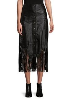 Haute Hippie Fringe Leather Skirt