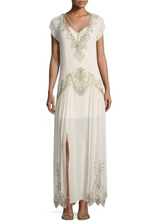 Haute Hippie Galaxy V-Neck Cap-Sleeves Embellished Evening Gown