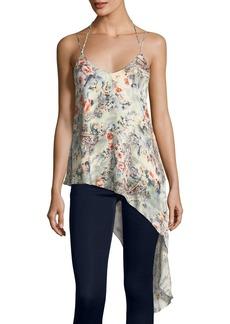 Haute Hippie Genie Floral-Print Asymmetric-Hem Silk Tank