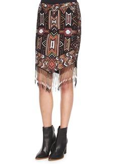 Haute Hippie Geometric Embellished Skirt w/Fringe