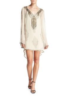 Haute Hippie Getty Beaded Paisley Silk Shift Dress