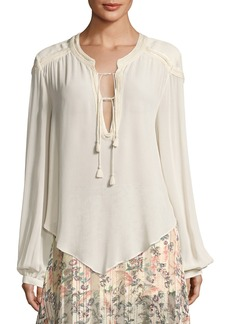 Haute Hippie Goldie Split-Neck Tassel-Tie Long-Sleeve Blouse