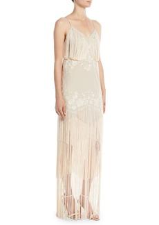 Haute Hippie Grandeur Sleeveless Gown w/ Fringe